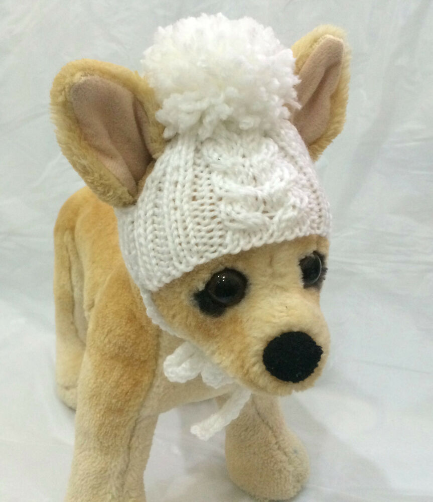 Knitting Dog Clothes : Pet clothes apparel outfit hand knit pom hat for small