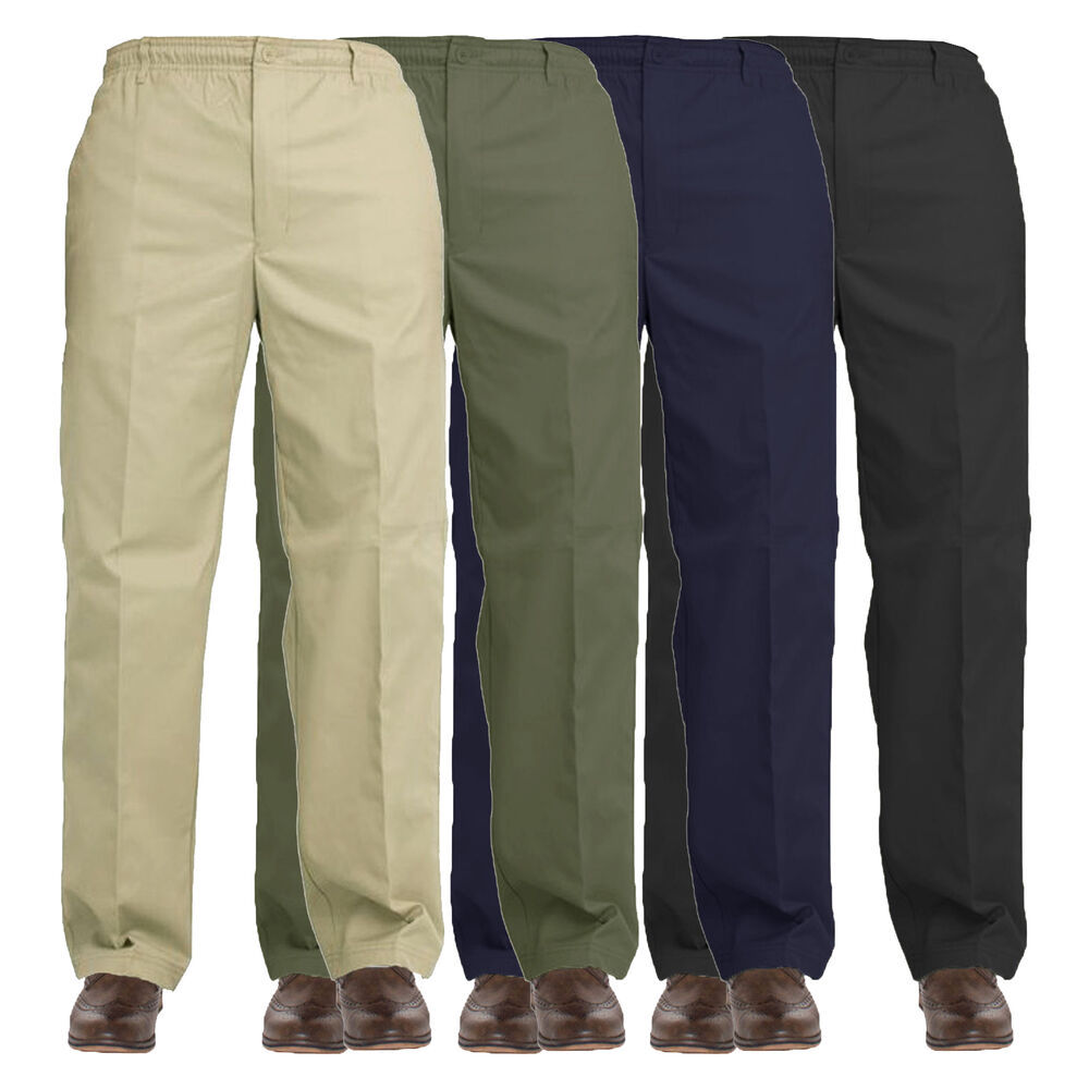 New Mens Elasticated Waist Work Casual Rugby Trousers ...