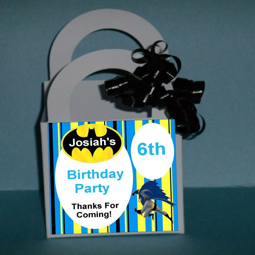 Personalized Party Favor Boxes Birthday : Batman personalized favor boxes birthday party ribbon