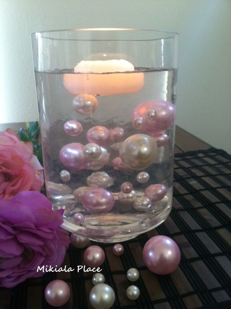 Elegant Floating Jumbo Pearls Ivory Light Pink Vase Fillers Wedding Centerpiece Ebay