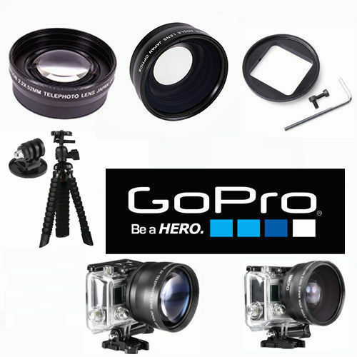WIDE ANGLE LENS + TELEPHOTO ZOOM LENS + TRIPOD FOR GOPRO ...