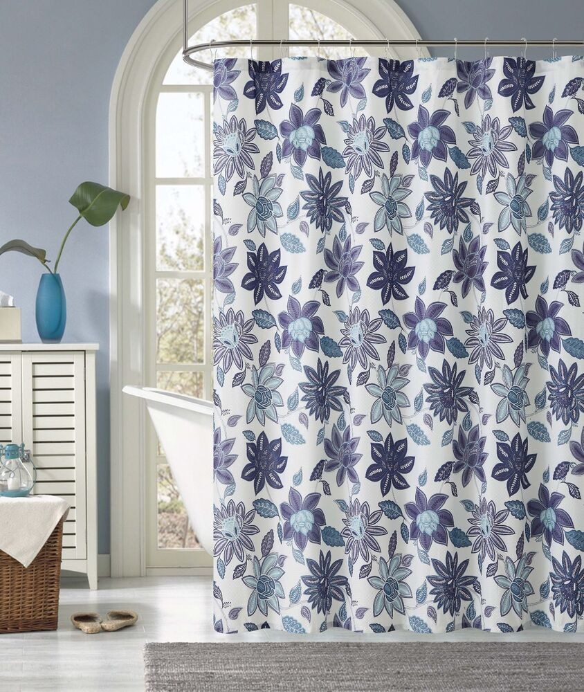 sardinia purple blue white floral flower fabric shower curtain 735732023644