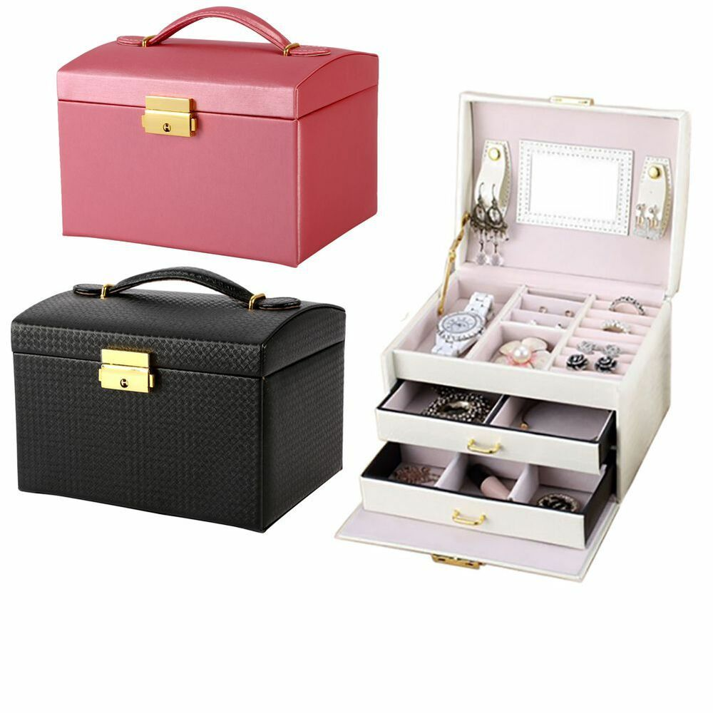 New jewelry leather mirror box storage organizer luxury for Mirror jewelry storage