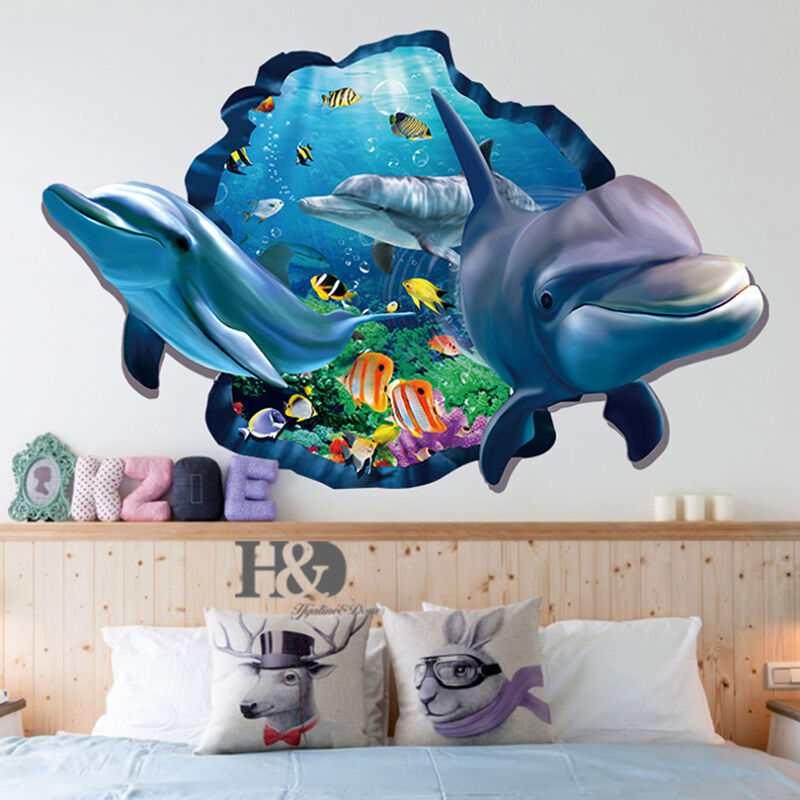 3d ocean dolphin removable vinyl decal wall sticker art for Sticker mural 3d