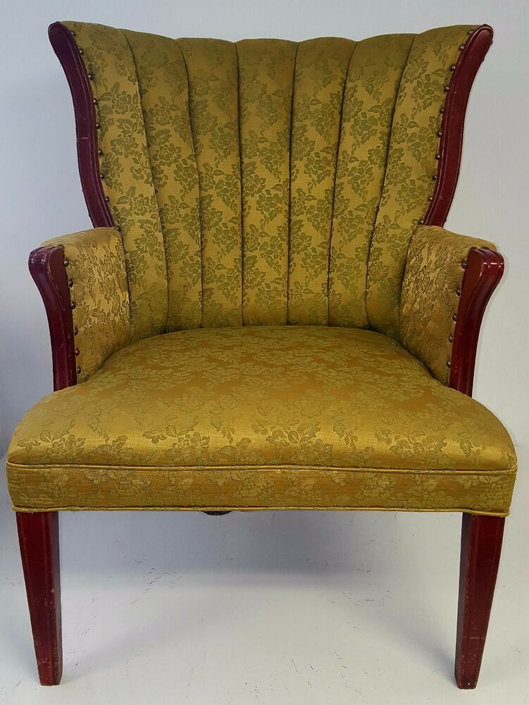 Antique Victorian Wingback Arm Chair Green Amp Gold Circa