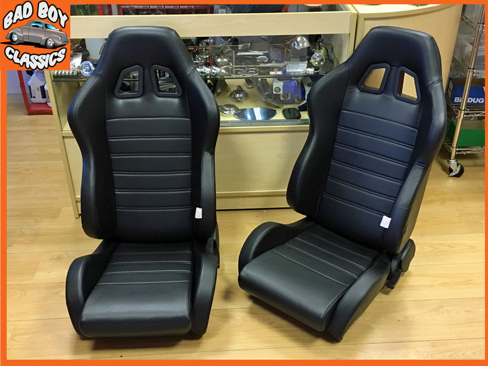 pair of bb4 reclining tilting bucket racing sports seats black universal design ebay. Black Bedroom Furniture Sets. Home Design Ideas