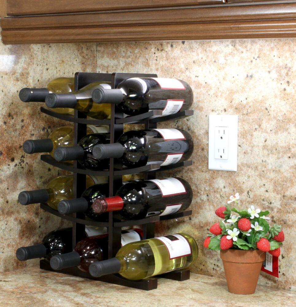 Table Top Wood Wine Rack Bottle Holder Storage Countertop