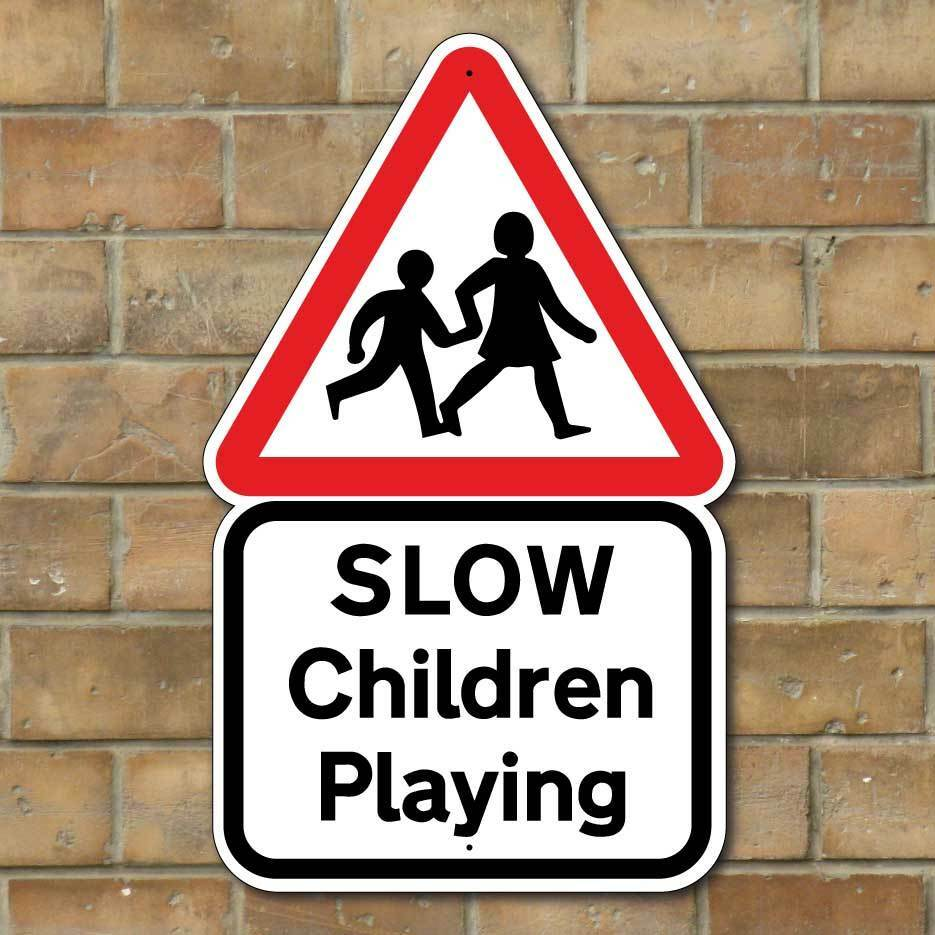 SLOW CHILDREN PLAYING SIGN , Kids Road Safety Sign, Slow ...