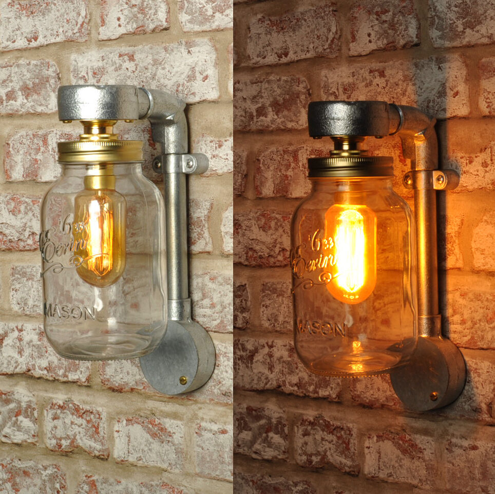 The Jones New Industrial Style Jar Wall Light Vintage