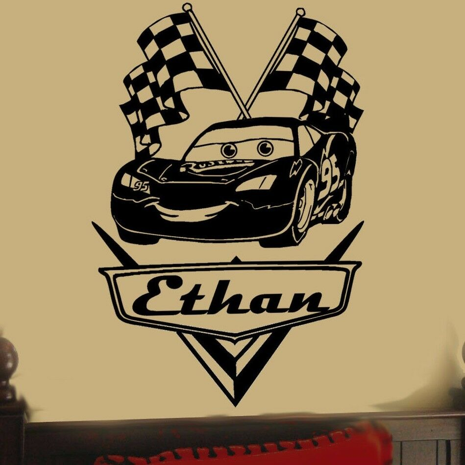 LARGE Personalized disney CARS Lightning McQueen Vinyl Wall Decal ...