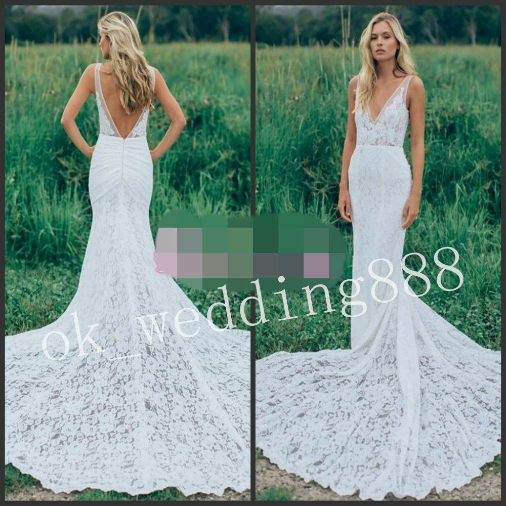 Boho Garden Wedding Dress V Neck Lace Bohemian Bridal Gown Size 6 8 ...