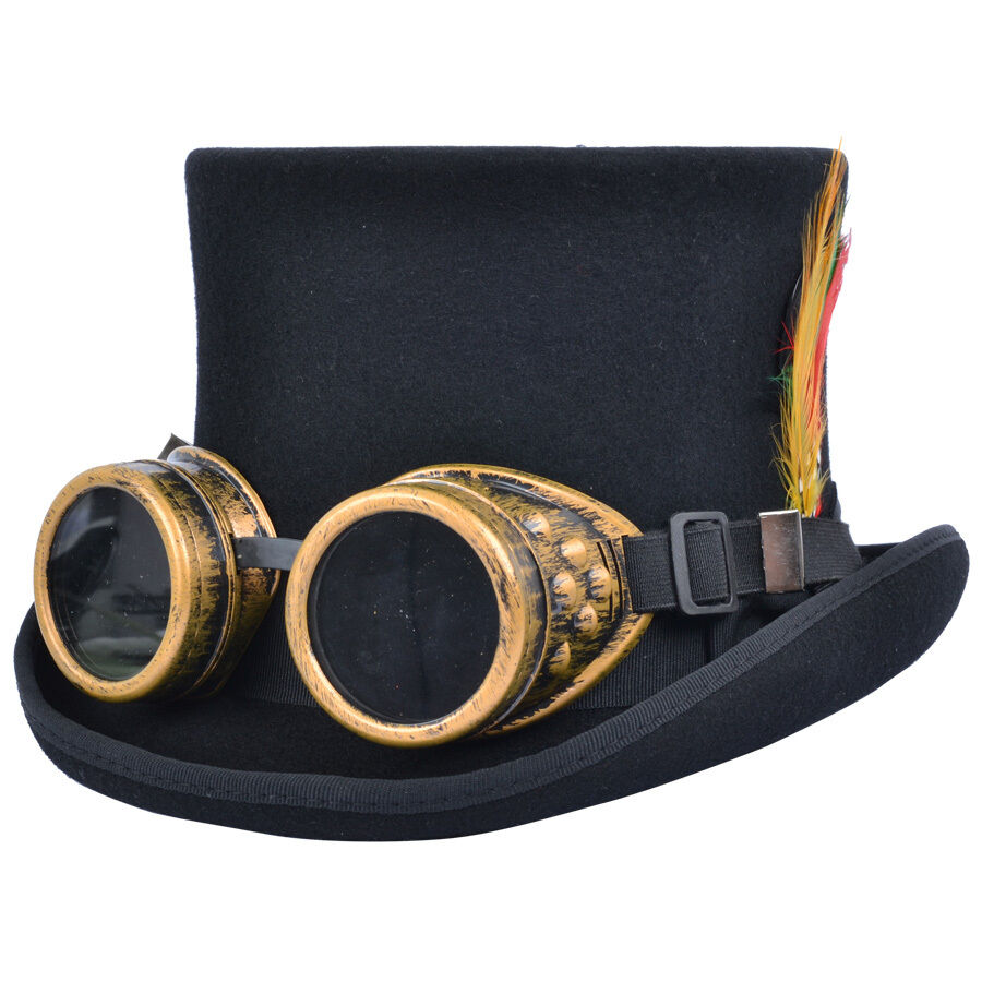 Steampunk Top Hat With Welding Cyber Goggles Goth Cosplay ...