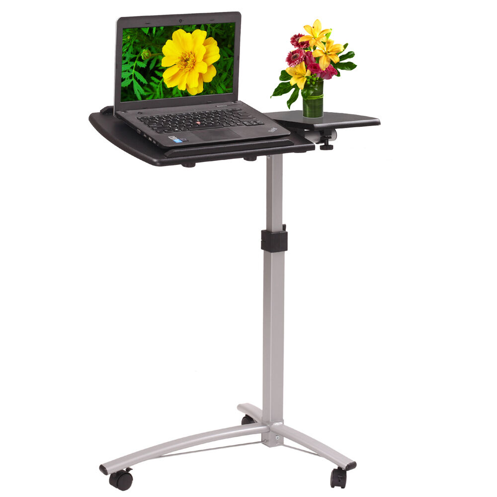Laptop cart desk portable wheels adjustable mobile computer office tray new ebay - The mobile office working on two wheels ...
