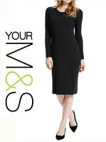 NEW Marks & Spencer Black Midi Bodycon Jersey Dress - Sizes 8 10 12 14 16 18
