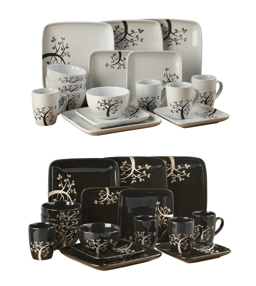 32 Piece Dinner Set Service Tea Black White Square Tree