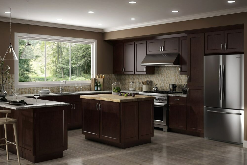kitchen cabinet woods all wood rta 10x10 luxor espresso shaker kitchen cabinets 2854