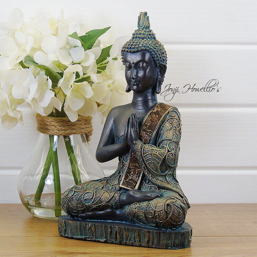 Praying thai buddha sitting ornament figure statue for Buddha decorations for the home uk