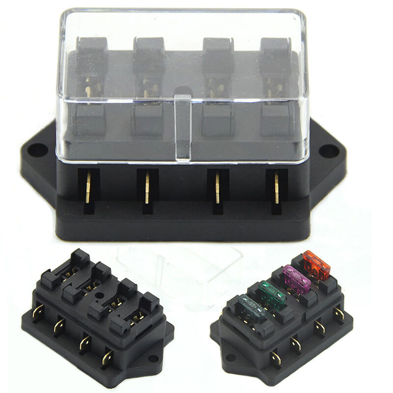 Fuse Holder Box 4 Way Car Vehicle Circuit Automotive Blade