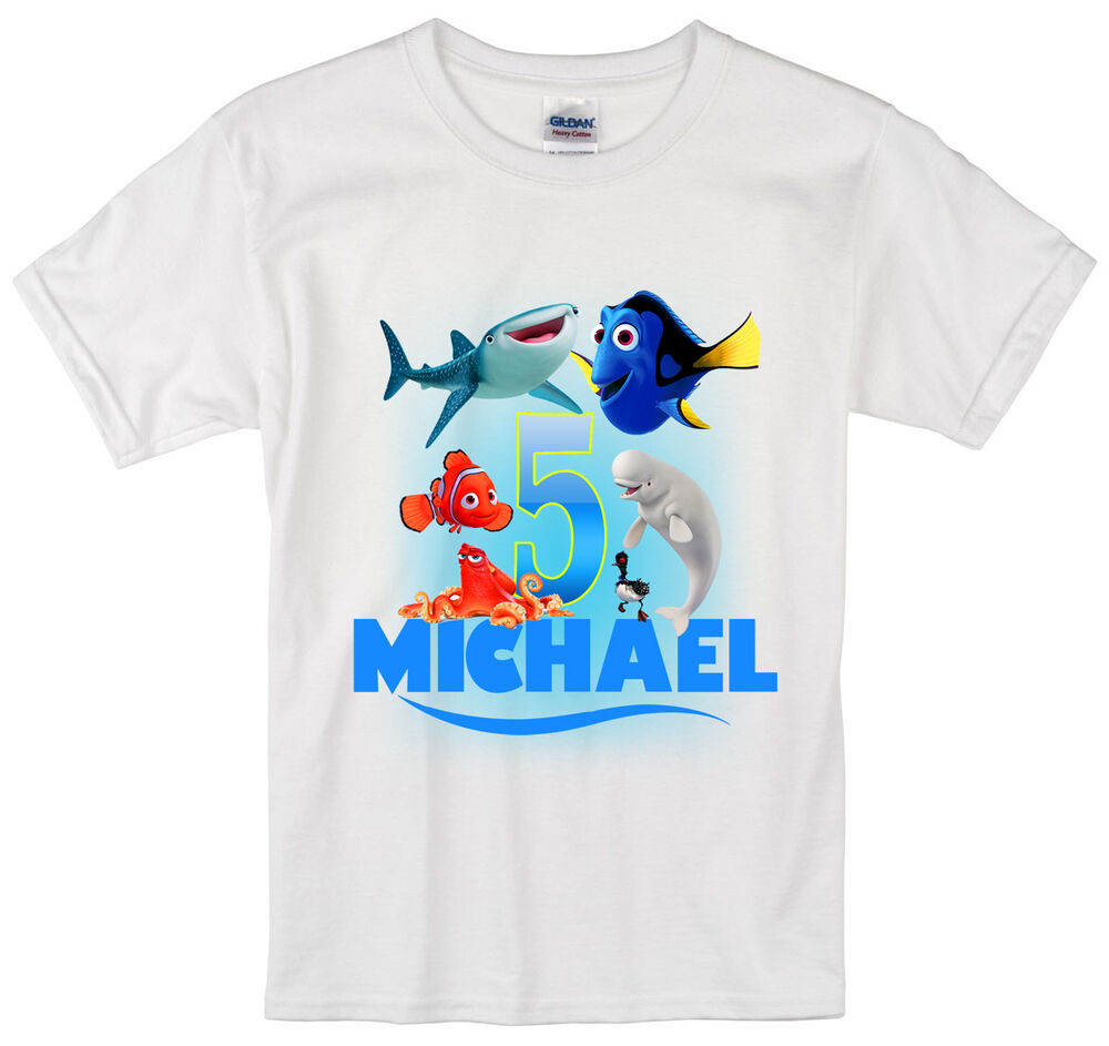 finding dory birthday shirt personalized custom name age kids t shirt ebay. Black Bedroom Furniture Sets. Home Design Ideas