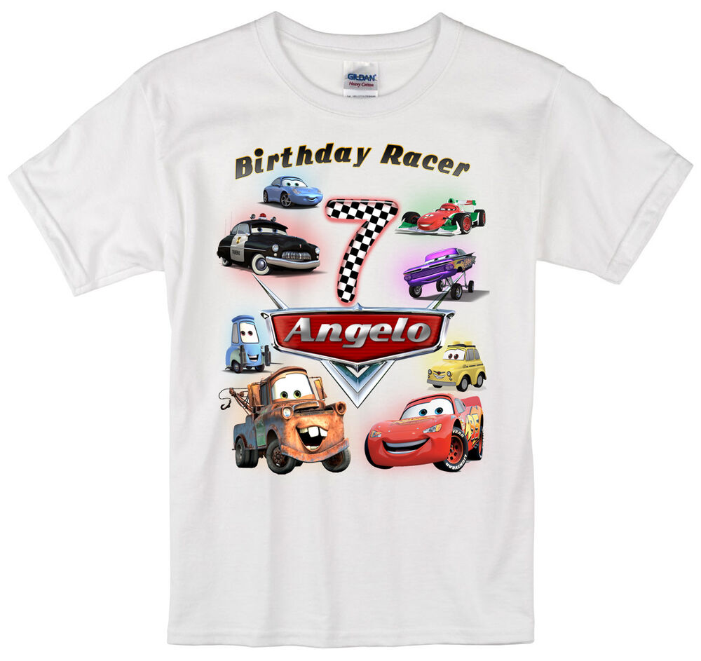 cars lightning mcqueen birthday shirt personalized custom name age kids t shirt ebay. Black Bedroom Furniture Sets. Home Design Ideas