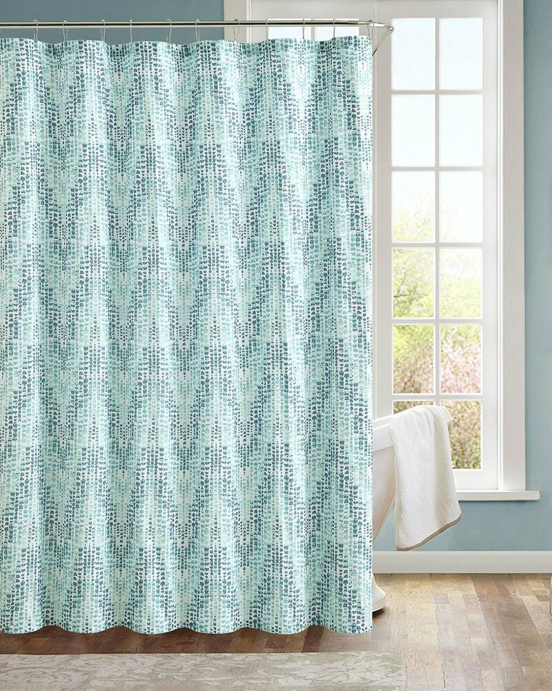 Modern Painted Chevron Aqua Blue Teal Fabric Shower Curtain EBay