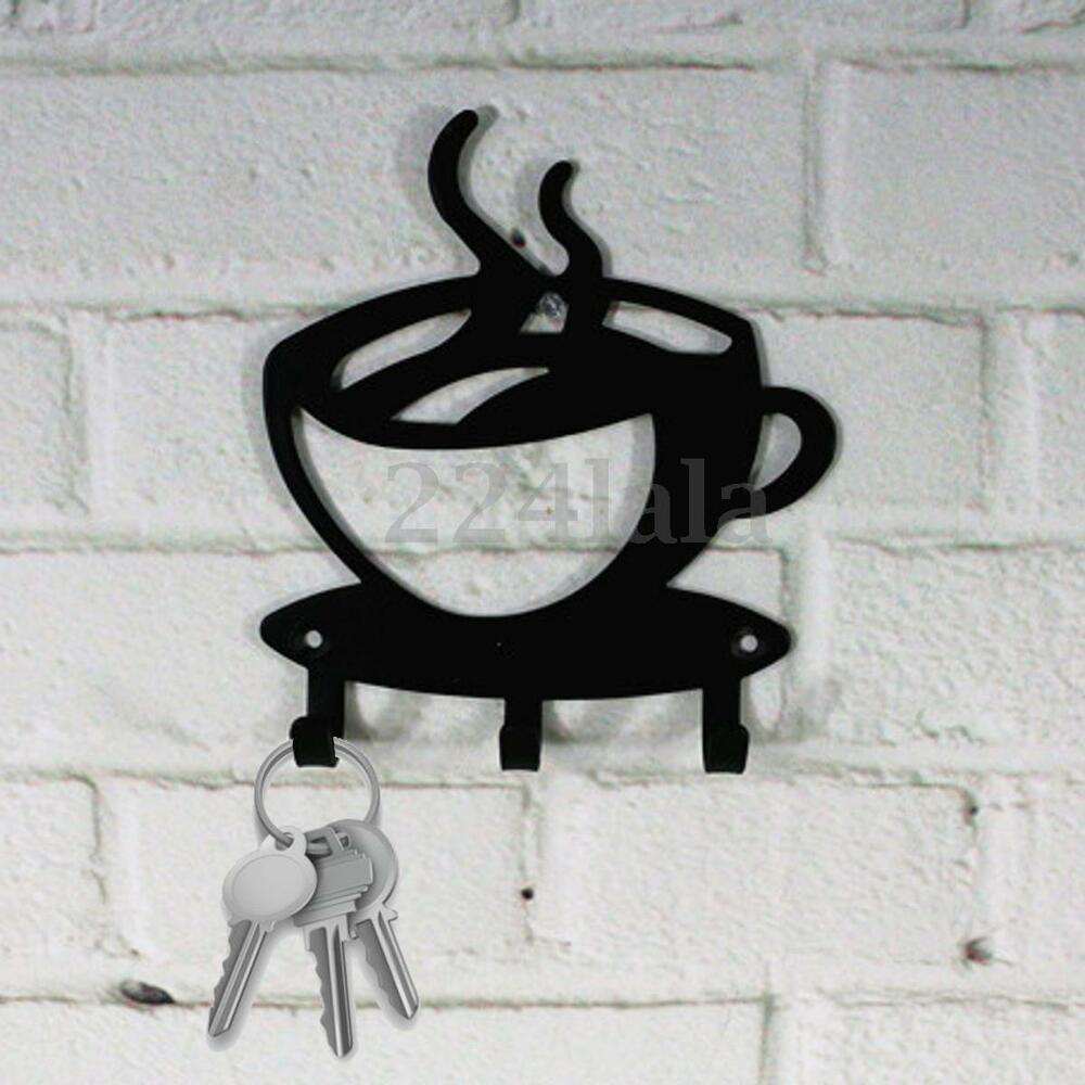 Home Decorative Coffee Wall Mount Metal 3 Hook Key Rack