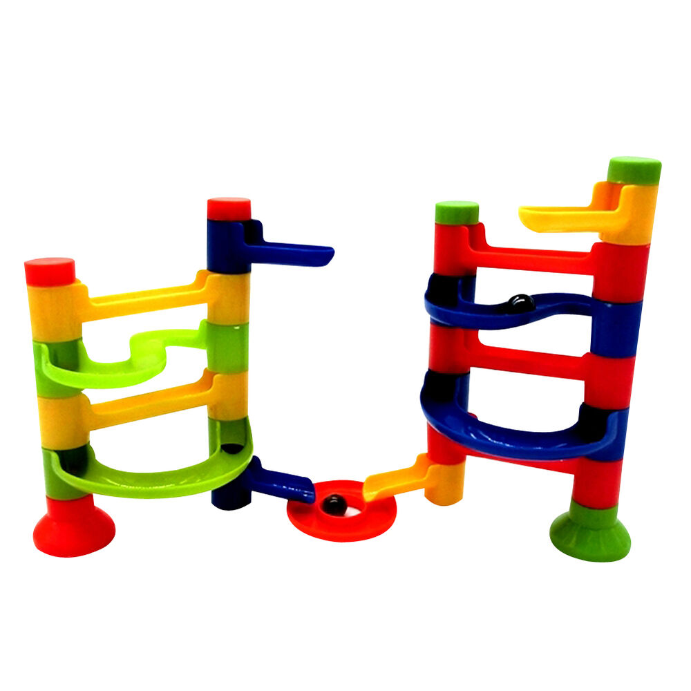 Marble Toys Blocks : Popular diy building block track run tower marble ball toy