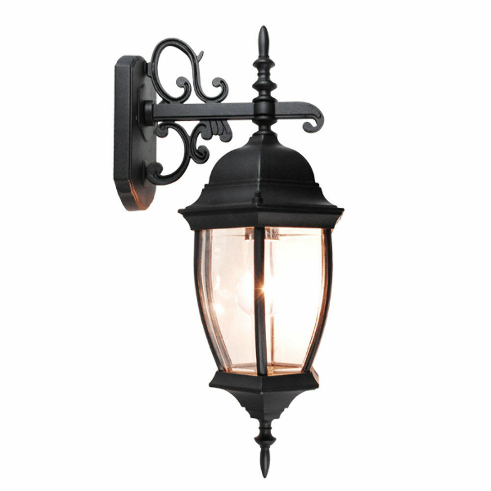 Outdoor exterior lantern wall light lighting fixture black for Light fixtures exterior