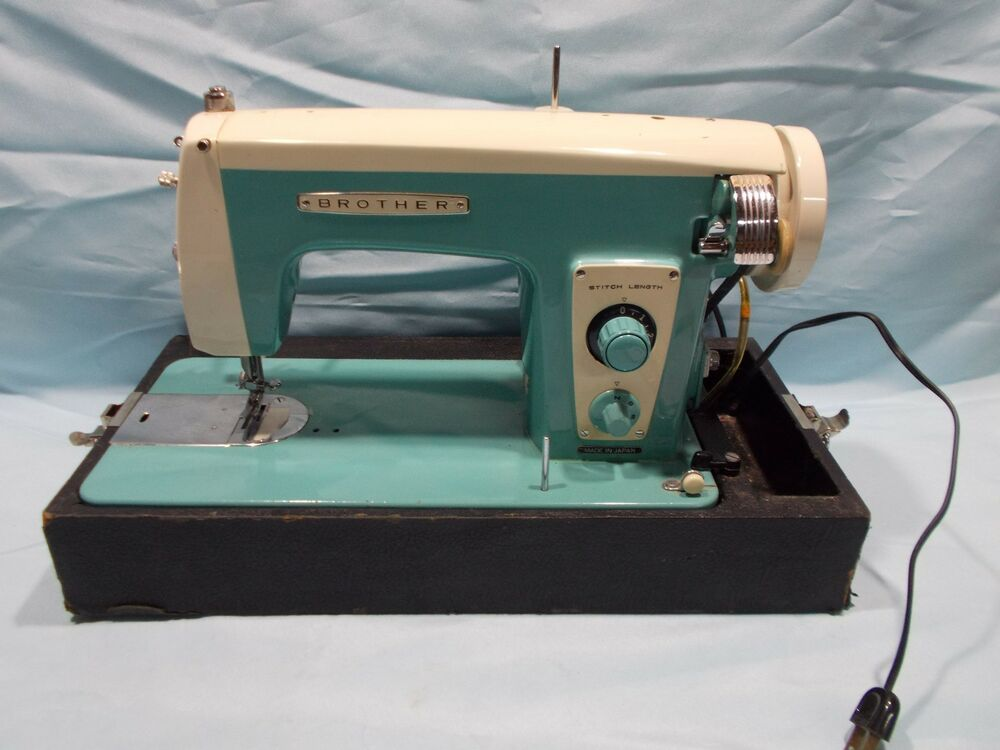 vintage mid century turquoise brother sewing machine made. Black Bedroom Furniture Sets. Home Design Ideas