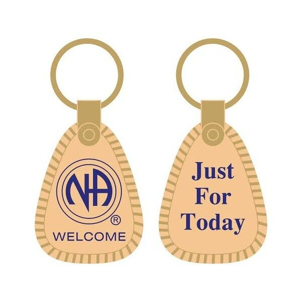 Narcotics Anonymous Recovery Keychains NA Just For Today Key Tag Gold & Blue