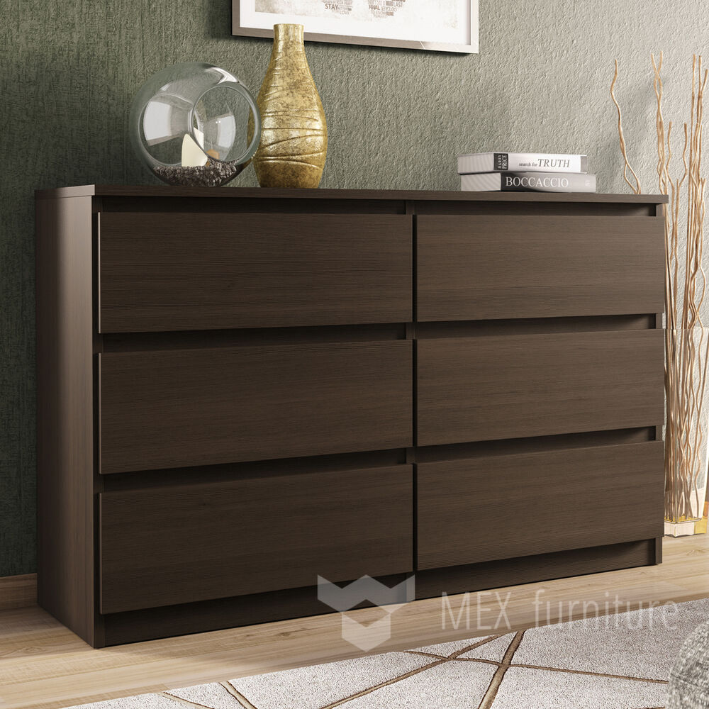 Modern wenge chest of drawers 6 drawers bedroom for Bedroom furniture chest of drawers