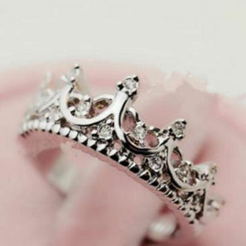 USA New Fashion Princess Women Silver Plated Rhinestone Crown Ring ...