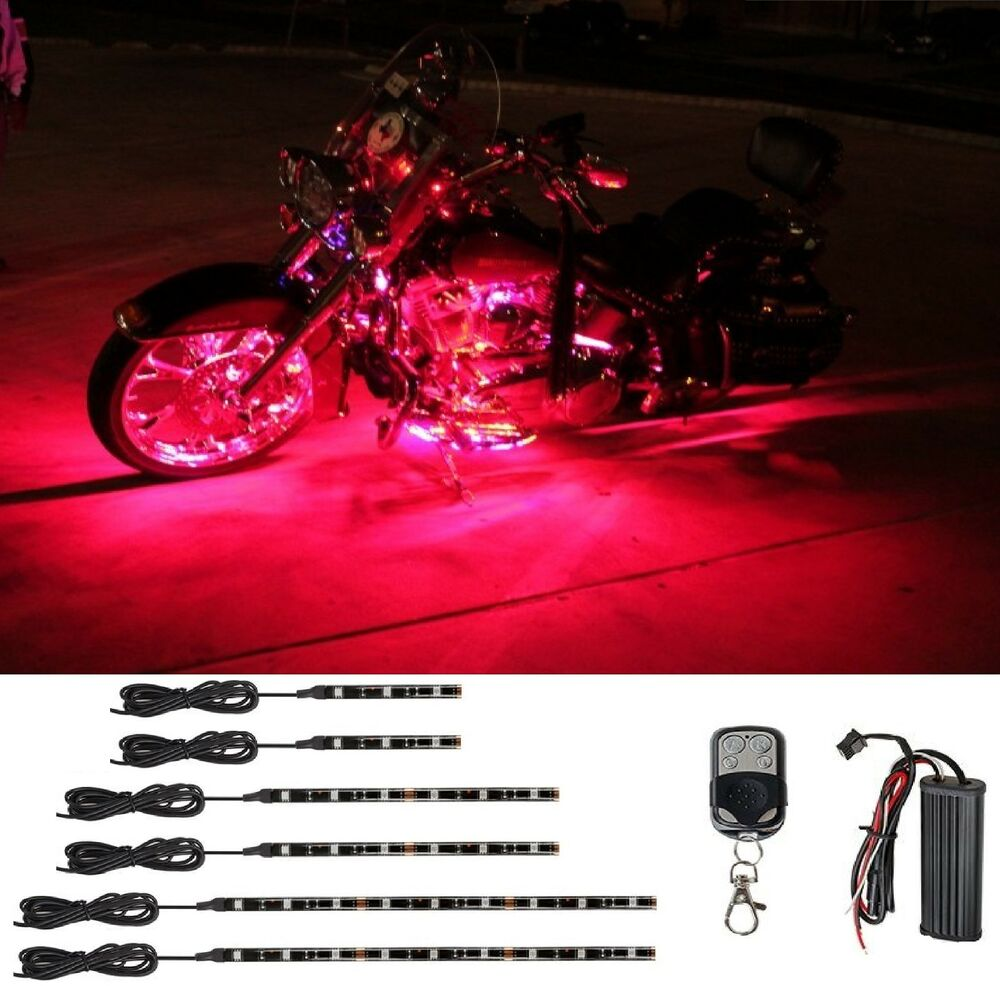 Red led engine neon accent underglow lights kit for harley davidson motorcycles ebay - Underglow neon ...