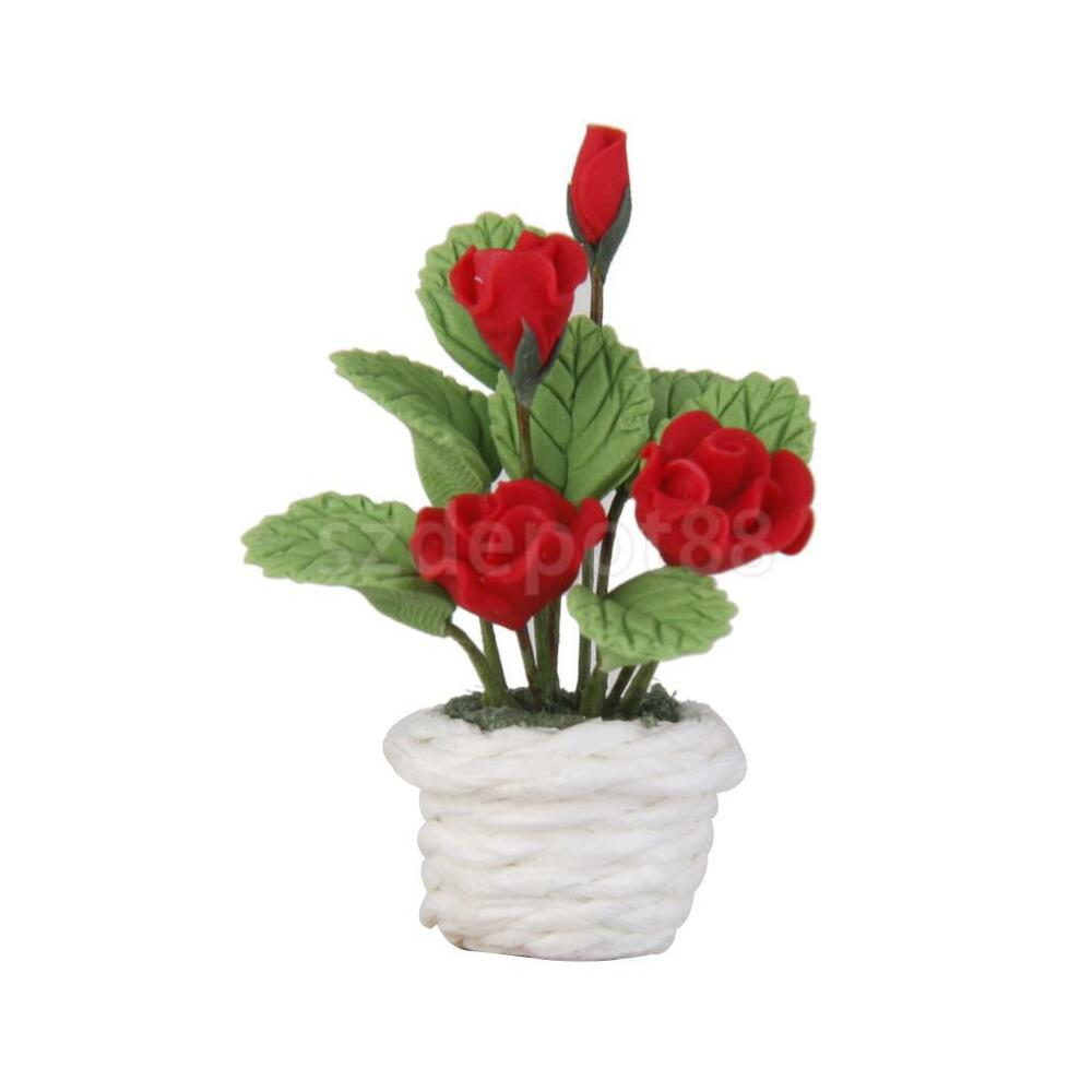 Dollhouse Miniature Potted Clay Red Rose Plants Flowers