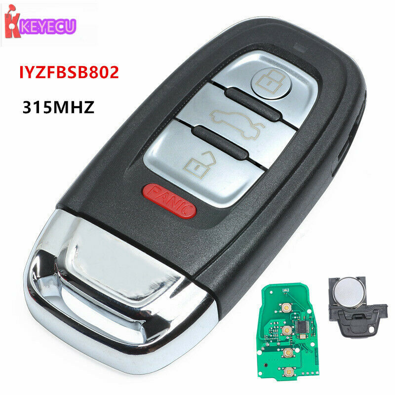 New Uncut Smart Remote Key Fob 3+1 Button 315MHz For Audi
