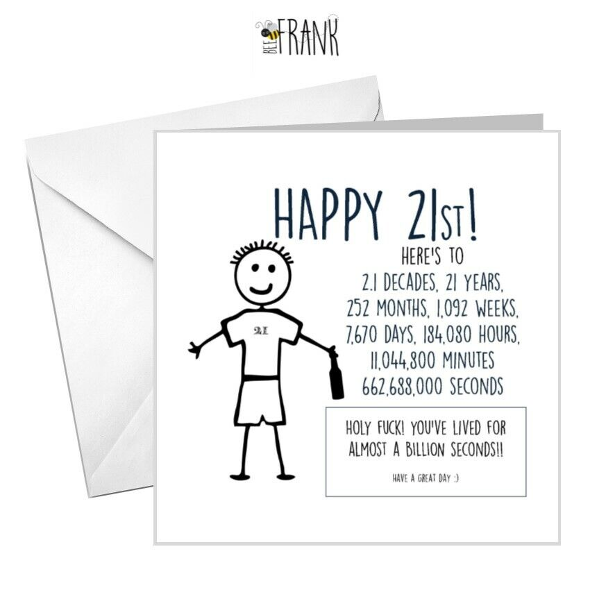 Funny 21st Birthday Cards: Funny, Rude, Alternative, Sarcastic, BIRTHDAY Card. 21st