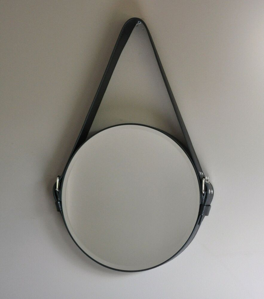 Lauren black wall mirror belt slung circle looking glass for Looking for wall mirrors