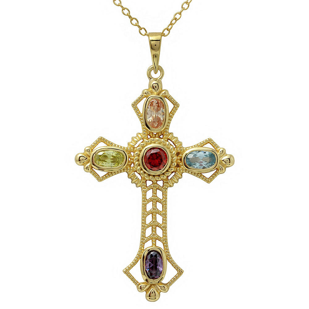 14k yellow gold over 925 sterling silver multi color cross. Black Bedroom Furniture Sets. Home Design Ideas