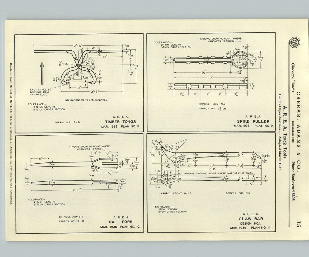 1937 Paper Ad Track Spike Puller Spec Specification Detail Drawing Claw Schematic Railroad Tool Ebay
