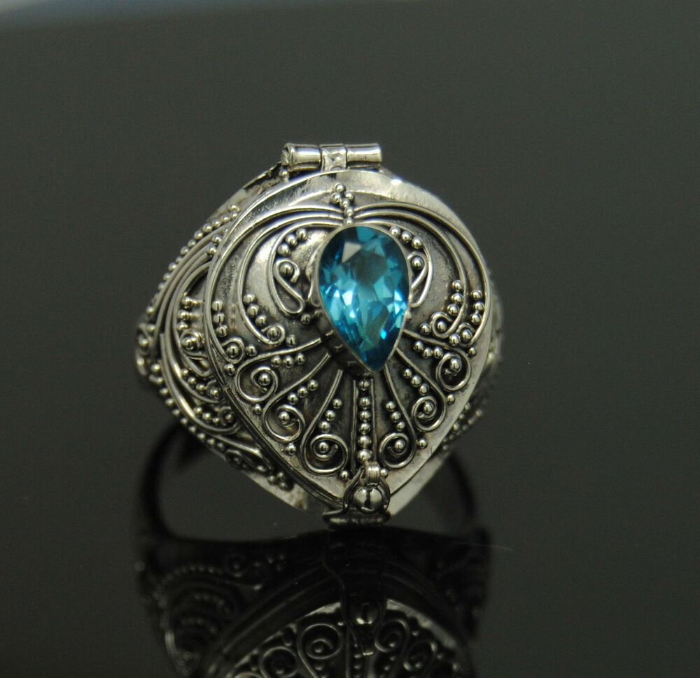 Blue Topaz Cremation Urn Ring Sz 9 Sterling Silver Cremation Jewelry Memorial Ebay