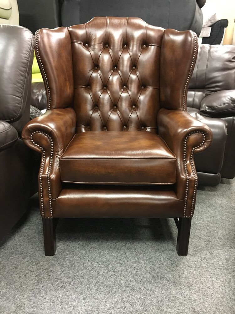 wing chair antique tan leather chesterfield not queenbrand new ebay