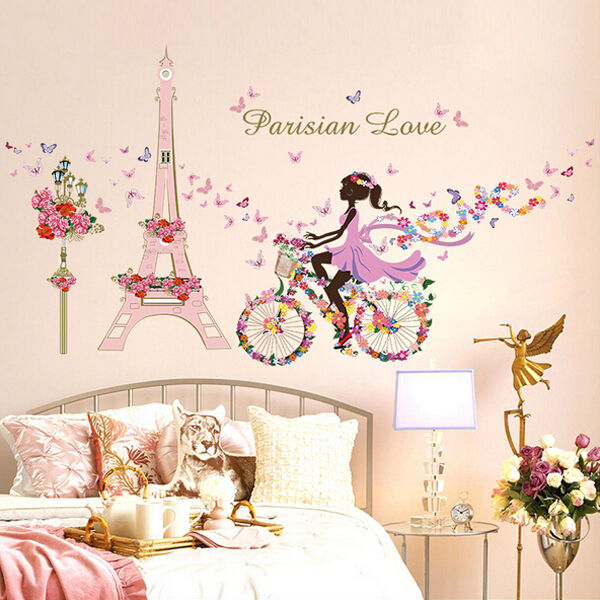 Removable Bicycle Flower Girl Vinyl Art Wall Sticker Mural