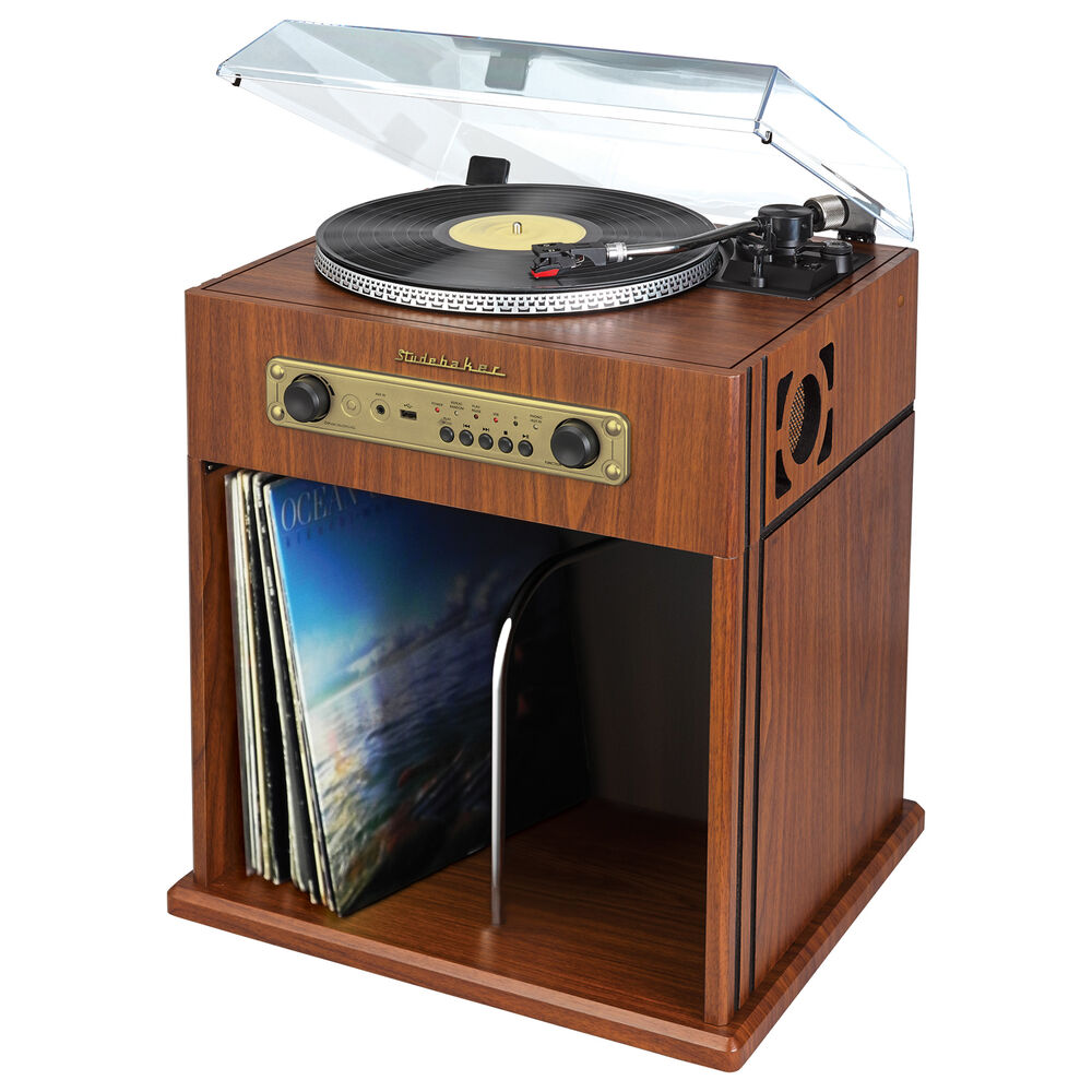 vinyl record cabinet studebaker stereo turntable bluetooth receiver amp record 28012