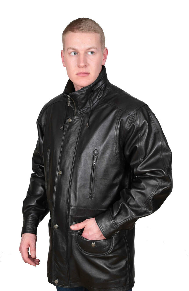 Gentlemens Real Leather Classic Parka Jacket Black Mens 3
