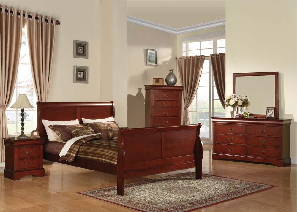 Louis philippe cherry 4 pc bedroom set queen king full for Cherry wood bedroom furniture