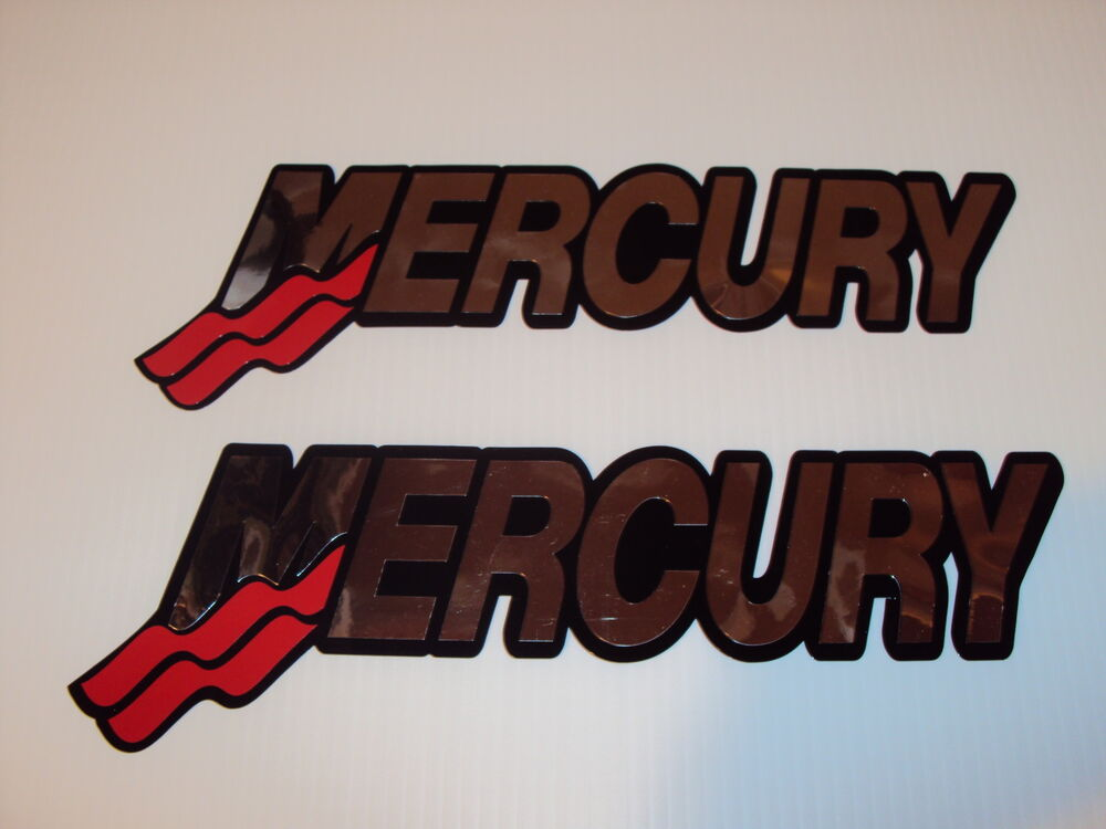 Two mercury boat decals 17 inch chrome marine vinyl for Custom outboard motor decals