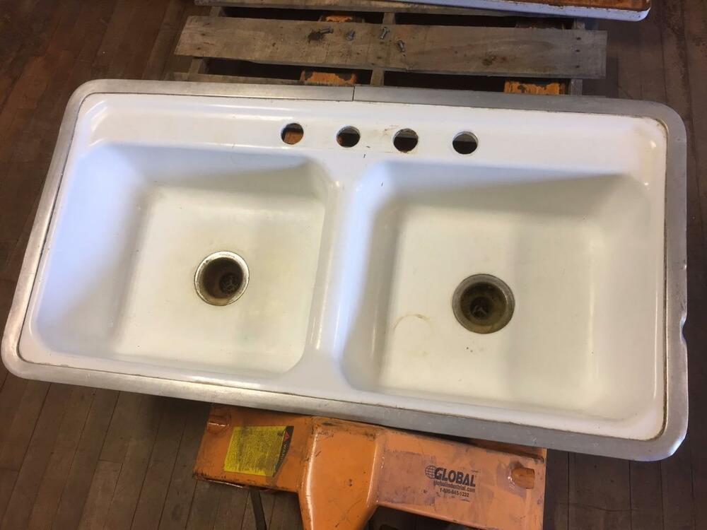 double ceramic kitchen sink vintage compartment porcelain cast iron farm house 6911