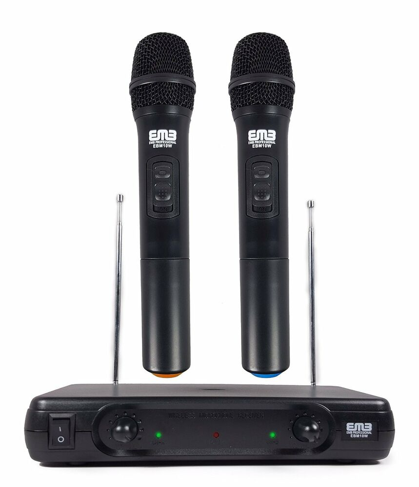 2 professional wireless microphone dual vhf wireless handheld microphone system ebay. Black Bedroom Furniture Sets. Home Design Ideas