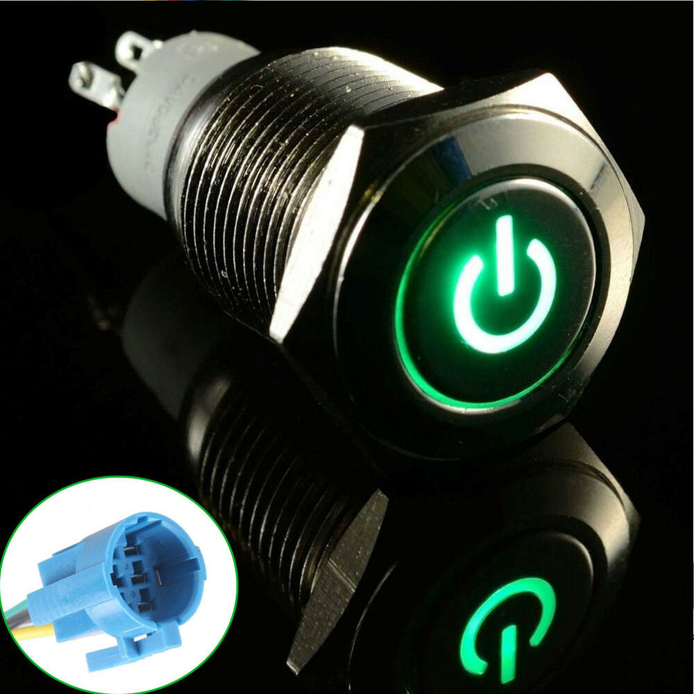 Hs 16mm 12v Car Green Led Metal Push Button Toggle Switch