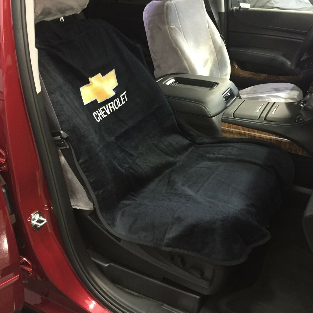 chevrolet car seat towel slip on cotton terry cloth black seat cover 47 x 24 ebay. Black Bedroom Furniture Sets. Home Design Ideas